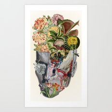 Mindfulness - anatomical collage art by bedelgeuse Art Print