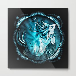 Mermaid Mandala - Blue Grunge Metal Print
