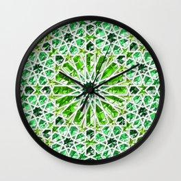 Geometric gemstones (emerald) Wall Clock