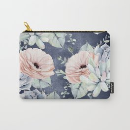 Night Succulents Navy Carry-All Pouch