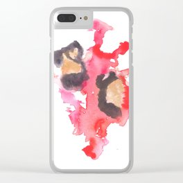 Watercolor Pink Black Flow   [dec-connect] 18. two hearts Clear iPhone Case