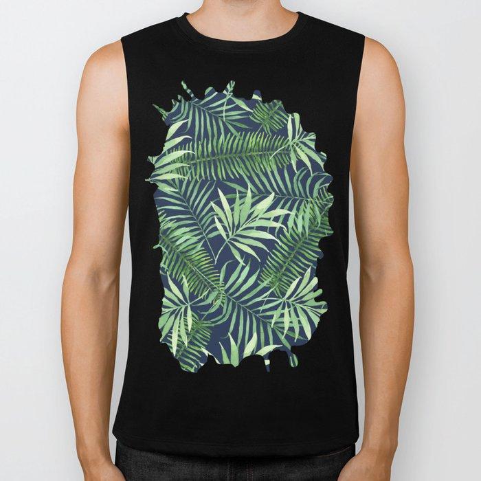 Tropical Branches on Dark Pattern 04 Biker Tank