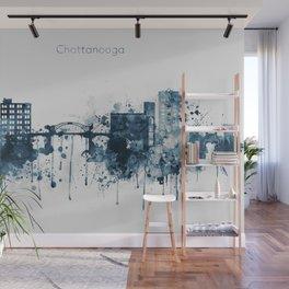 Blue Chattanooga skyline design Wall Mural