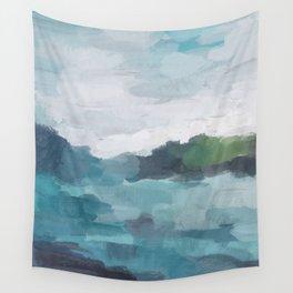 Aqua Blue Green Abstract Art Painting Wall Tapestry