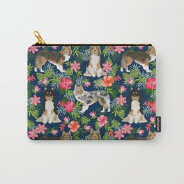 Sheltie shetland sheepdog hawaii floral hibiscus flowers pattern dog breed pet friendly Carry-All Pouch