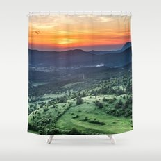 Beautiful sunset behind green fields Shower Curtain