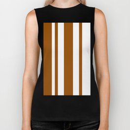 Mixed Vertical Stripes - White and Brown Biker Tank