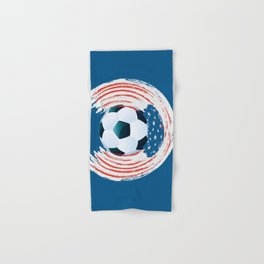 Football Ball and red, white Strokes Hand & Bath Towel