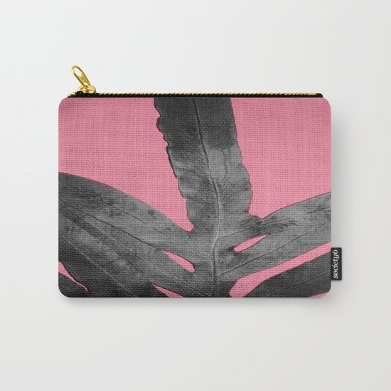 Green Fern on Pink - Black Shadow Carry-All Pouch