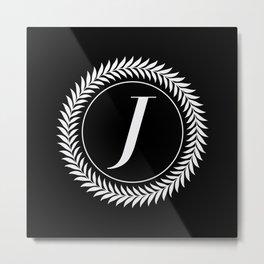 Monogram Laurel Wreath Design in Black - Letter J Vector Metal Print