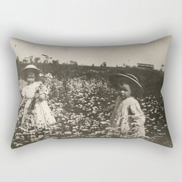 Vintage Photo of Sisters and Flowers Rectangular Pillow