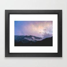 Japanese purple mountains Framed Art Print