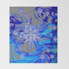 MODERN ROYAL BLUE WINTER SNOWFLAKES GREY ART Throw Blanket