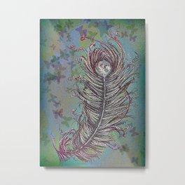 Ruffled Peacock Feather Metal Print