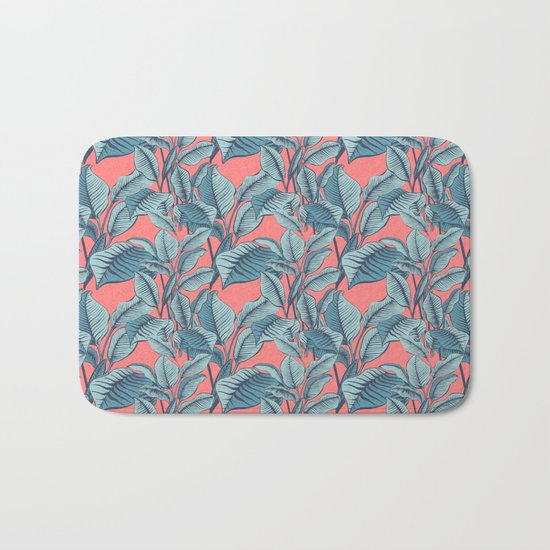 Pink Exotic Tropical Banana Palm Leaf Print Bath Mat