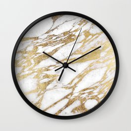 Chic Elegant White and Gold Marble Pattern Wall Clock