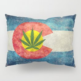 Retro Colorado State flag with the leaf - Marijuana leaf that is! Pillow Sham