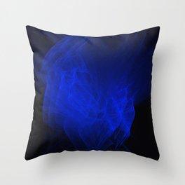 Blue smoke, fractal abstract art Throw Pillow
