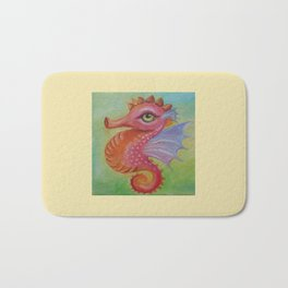 Baby Dragon Sea Horse Ice Cream color book illustration for kids Oil painting on canvas Pastel color Bath Mat