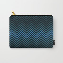 Blue And Black Zig Zag Abstract Design Carry-All Pouch