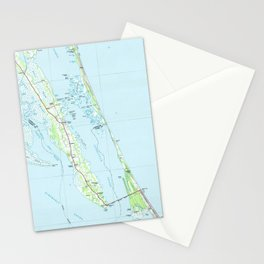 Northern Outer Banks North Carolina Map (1985) Stationery Cards