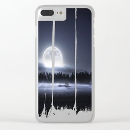 When the moon wakes up Clear iPhone Case