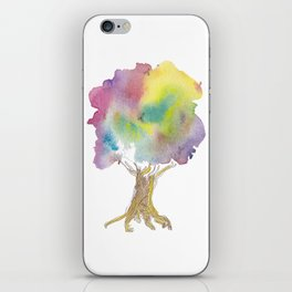 Dreaming tree - watercolor and ink whimsical illustration iPhone Skin
