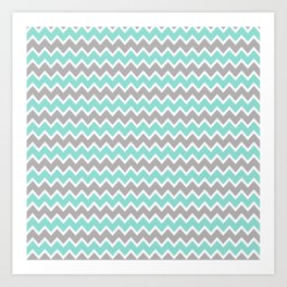 Aqua Turquoise Blue and Grey Gray Chevron Art Print