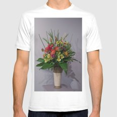 Floral Arrangement White MEDIUM Mens Fitted Tee
