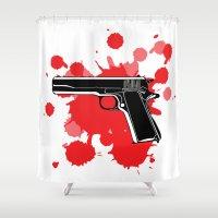 guns Shower Curtains featuring Guns Kill by DaceDesigns