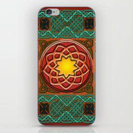 Celtic Knotwork panel in Persian Green iPhone Skin