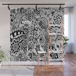 Mushroom madness black and white Wall Mural