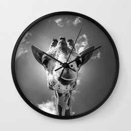 Cool Giraffe Black and White Wall Clock