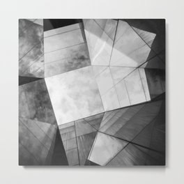 Black and White Cubism Metal Print