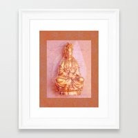budi satria kwan Framed Art Prints featuring Rose-Bronze Kwan Yin by Jan4insight