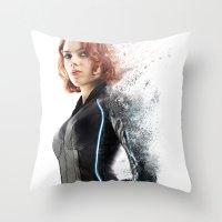 black widow Throw Pillows featuring Black Widow by NKlein Design