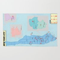 comic book Area & Throw Rugs featuring New York City- A Comic Book Tour by Kaz Palladino & Awkward Affections