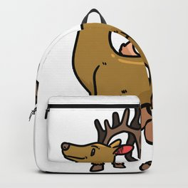 Reindeer Christmas Gift Sledge Funny Backpack