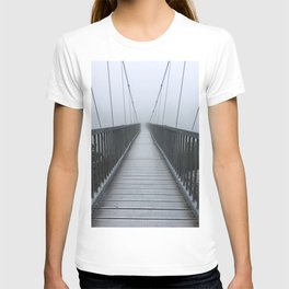 The Swinging Bridge in Fog on a Mountain T-shirt