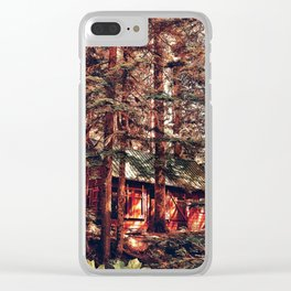 Crimson Cabin Clear iPhone Case