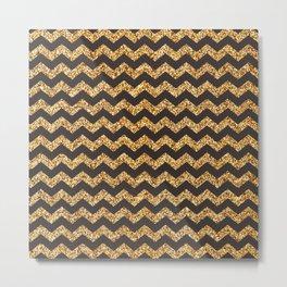Bistre Gold Glitter Chevron Pattern Metal Print