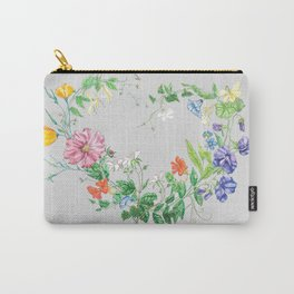 Spring Wild Flower Heart Carry-All Pouch