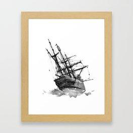 wrecked ship Framed Art Print