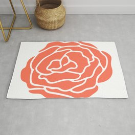 Rose Deep Coral on White Rug