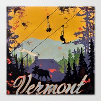 vermont Canvas Prints featuring Vermont by Redbirchstudio