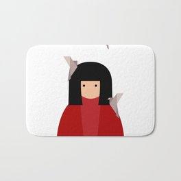 Japanese girl with origami birds. Oriental style Bath Mat