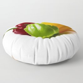 Three Bell Peppers Against The White Background. Green Pepper To The Front Floor Pillow