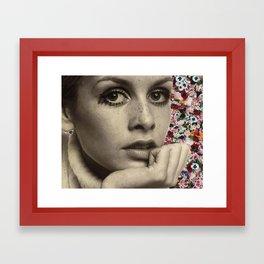 twiggy flower collage Framed Art Print