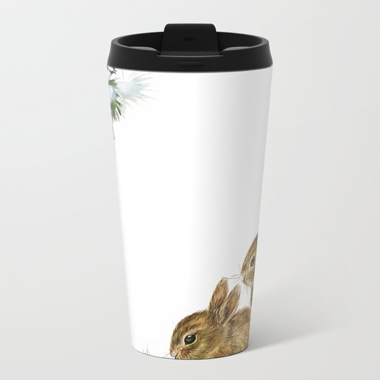 Winter in the forest- Animal Bunny Illustration Metal Travel Mug