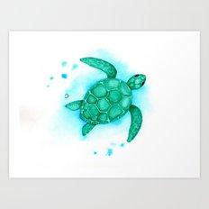 Green Turtle Client Rework Art Print